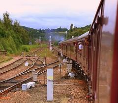 Steam Heat at Perth (Chris Baines) Tags: golden stag clayton steam perth heat railtour boiler departing srps 37025
