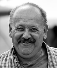 Village fete (1) (Neil. Moralee) Tags: old light portrait bw white man monochrome smile face smiling shirt laughing happy mono back nikon funny village natural outdoor candid bald neil moustache fete balding matute peoplr hemyock d7100 moralee neilmoralee july2016nikond7100