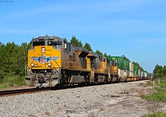 NS 209 with all UP power making its way towards Jax, FL where it will go to FEC's Bowden yard to work before returning north as NS 210 later that day (MrRailfan) Tags: ns 209 up norfolk southern union pacific intermodal train jax fl jacksonville florida rr railroad freight emd ge sd70ace gevo 70m