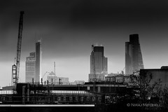 City (TimeTraveller37) Tags: london city cityoflondon cityscape londonist londonlandmarks londonicons londontown sunset cheesgrater towers canarywharf cranes buildings rooftops blackwhite bw mono monochromatic monochrome shades grey black white whiteandblack smoke steam darkness night architecturaleyecandy icons iconic londres timeoutlondon uk unitedkingdom gb eu