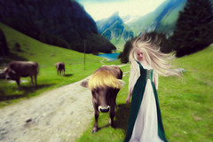 Happy Heidi (Swissrock) Tags: challenge photoshop photoart photomatix digitalart photomanipulation manipulation alpstein heidi cows july 2016 andykobel surreal fantasy