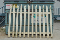 dumpster fence (Justin van Damme) Tags: fence found object dumpster flowers painted wooden leaning