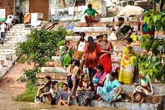 Holy Bath on the Ghat (PiccolaSayuri) Tags: benares varanasi hindu india bath ghat gange ganga river rajasthan haryana uttarpradesh madhyapradesh delhi mandawa bikaner jaisalmer jodhpur udaipur jaipur agra fathpursikri gwalior orchha khajuraho incredibleindia temples forts colours people faces