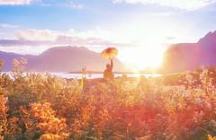 too good to be real (yeeship) Tags: fuji travel sunset dusk light umbrella lofoten islands back fai hill landscape person dreamy
