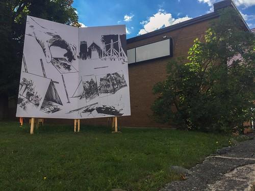 David Coste, Disjonction, architectures-démontrables (second volet), dans le cadre d'une résidence de co-production au 3e impérial, centre d'essai en art actuel, Granby, 2016.