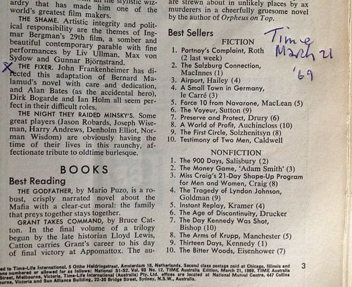 Mention in Time of Philip Roth, Bernard Malamud and Kennedy, Mar.21 1969