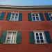 La maison rouge, Samedan, district de Maloja, Engadine, canton des Grisons, Suisse.