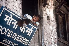 A Bhaktapur Boy, Nepal, 1999 (AGrinberg) Tags: nepal boy film olympus 1999 kodachrome om1 bhaktapur 44995boybhaktapur placeofdevotees