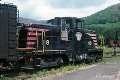 1964 B&M GE 44T 118 Bellows Falls, Vt July 1964 (JFCiesla) Tags: bo railroads ciesla jfciesla jfcimages