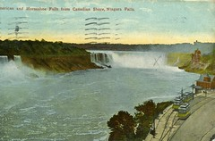 American and Horseshoe Falls, Niagara Falls. Postcard bought 1911 (NE2 3PN) Tags: usa canada niagarafalls postcard tram 1911 horseshoefalls buffalonews amercanfalls americhrome buffalonewsco m3532