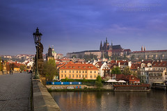 Prague Castle from Charles Bridge (Bridget Calip - Alluring Images) Tags: morninglight spring rainbow europe prague praha unescoworldheritagesite cobblestone lampost czechrepublic romanesque charlesbridge bohemia allrightsreserved stvituscathedral praguecastle copyrighted vltavariver 2015 capitalcity cityofahundredspires bridgetcalip alluringimagesllc