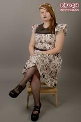 IMG_6144 (Neil Keogh Photography) Tags: pink flowers white black girl print pattern highheels dress goth bat heels earrings studioshoot borderfx sideshave modelsally