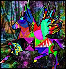 090 BFU1443 FOTOMURAL HOGAR Caballo danzante en el oscuro bosque del alma 3856 X 4050 (Galeria Zullian & Trompiz) Tags: world music abstract colors rock forest libertad freedom fly guitar pegasus guitarra colores sueños fantasy bosque fantasia dreams musica abstracto mundo pegaso volar wingedhorse caballoalado aboles selava horsefacebook peopledreaming instagram caballoaladoensueños caballoaladoenelbosque pegasoenelbosque artedigitaldepegaso personassoñando caballoinstagram caballofacebook dreamswingedhorse wingedhorseintheforest intheforestpegasus pegasusdigitalart