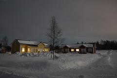 61-Moonlight_Cottages5 copy (Beverly Houwing) Tags: snow building night forest suomi finland frozen fullmoon lapland moonlight kukkola bungalow kukkolankoski