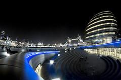 London City Hall at night (philwornath) Tags: city bridge blue people london tower glass lights hall nightshot space egg steps ambient