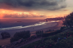 La grand plage (RoCafe) Tags: sunset lighthouse seascape france beach biarritz basquecountry nikond600
