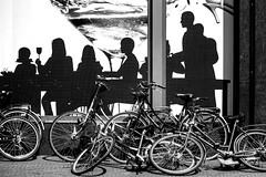 Inge Hoogendoorn (ingehoogendoorn) Tags: blackandwhite blacknwhite zwartwit fietsen fiets fietswrakken dutchbikes dutchbike contrast advertisement spui denhaag thehague streetphotography straatfotografie streetview forcedperspective absurd absurdism