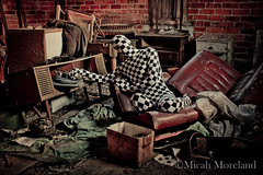 The Sound of Madness (micahmoreland) Tags: old music house man abandoned film strange car leather mystery movie costume scary funny mood moody antique surrealism seat dream surreal cheeky turntable creepy suit recordplayer mysterious record horror attic isolation nightmare disturbing cushion derelict checkered atmopsheric horrorsurrealism