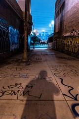 () Tags: los angeles graffiti downtown 1st st bridge gold line night neon city dtla la shadow