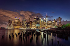 New York by night (marko.erman) Tags: city travel blue sea newyork water architecture brooklyn night skyscraper buildings reflections lights cityscape view nightscape pov manhattan sony horizon unitedstatesofamerica illuminated hour popular downtownmanhattan