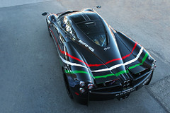 From above (sumosloths) Tags: pagani huayra bare carbon fiber black red white green stripes stripe tear vinyl wrap stickers italian amg sticker aerial above below top down exotics cannery row eocr monterey car week carmel pebble beach concrete sunset empty sumosloths
