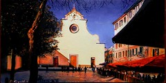 Afternoon in Santo Spirito Square - Florence (davidesigi) Tags: florence square artworks urban modernart contemporarypainters museum galleries painters oilpaintings italianart italy tuscany love happiness sunset beautiful landscapes fineart luxuryart famous