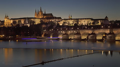 evening on the Vltava (cherryspicks (intermittently on/off)) Tags: prague bluehour night twilight longexposure waterfront water river vltava gull architecture building unesco historic castle charlesbridge travel cityscape