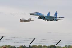 low pass MIG-15 with SU-27 (roj czech) Tags: letadlo let ciaf plane airplane airshow military trysk jet dvojice formace