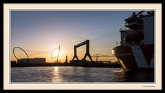 Sunsets on the Resolution (0Hammer64) Tags: sunset silhouette 35mm twilight nikon f18 docked majestic middlesbrough northeast transporter d800 transporterbridge yabbadabbadoo middlehaven temenos mpiresolution 0hammer64