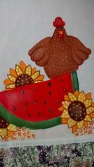 Galinha  melancia (Pintura em tecido. Panos de prato.) Tags: galinha melancia pinturacountry pinturaemtecido panodeprato panodecopa