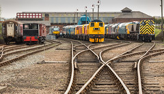 DRS Class 68 no 68001 resides at Barrow Hill on 16-04-2015 with GBRf Class 20/9 no 20905 & Class 03 no 03066. (kevaruka) Tags: uk greatbritain england color colour colors composition train canon spring flickr colours diesel unitedkingdom rail railway trains april locomotive frontpage britishrail chesterfield preservation shunter 2015 drs preservedrailway networkrail 20905 barrowhill class03 dieselhydraulic hymek stavely gbrf 68001 barrowhillroundhouse class68 03066 preserveddiesel thephotographyblog ilobsterit canong1xmk2 16042015