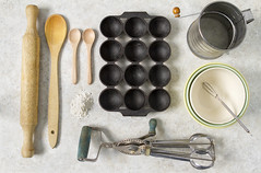 Things arranged neatly- The cook (aussiegall) Tags: egg cook spoon bowl pan flour bowls woodenspoon whisk beater sieve thingsarrangedneatly