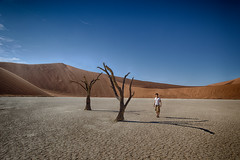 Alone in Deadvlei, Namibia (Shuo Photography) Tags: africa park old blue red sky orange brown mountain plant black hot nature landscape dead outside death sand scenery branch desert outdoor african sandy dune extreme salt dry hills adventure national drought heat remote lonely pan desolate plain sesriem namibia acacia arid ridges endless dooie namibian namib deadvlei naukluft