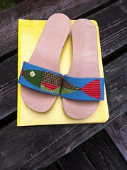 Needlepoint fish sandals (victowood) Tags: shoes handmade sandals needlepoint