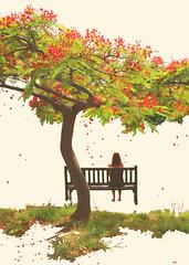 Red rain (CristinaSeijas) Tags: rbol tree chica girl yo me myself cristina verde green rojo red ptalos ptalo petal petals grass hierba banco bench esperar wait