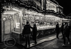 London Nov 2015 (7) 065 - Winter Wonderland in Hyde Park (Mark Schofield @ JB Schofield) Tags: park christmas street city winter england white black london monochrome canon fairground carousel hyde oxford rides nightlife wonderland stalls 5dmk3