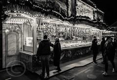 London Nov 2015 (7) 065 - Winter Wonderland in Hyde Park (Mark Schofield @ JB Schofield) Tags: park christmas street city winter england white black london monochrome canon fairground carousel hyde oxford rides nightlife wonderland stalls 5dmk3