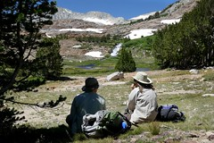 Annette and Colin at lunch spot with view of waterfall (openspacer) Tags: inyocounty inyonationalforest