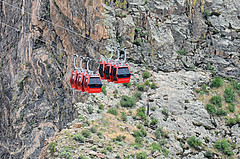Meeting In The Middle (Jayhawk Explorer) Tags: ipiccy gondolas red balance royalgorge royalgorgebridgeandpark canyon ride canoncity colorado co roadtrip