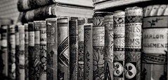 History Books... (Scosanf) Tags: museum antiques artifacts books old blackandwhite bweffects monochrome montrose wide details closeup bokeh dof depthoffield aged topazlabs travel trip vacation summer indoor roadtrip colorado canon eos ef2470mmf28lusm 6d
