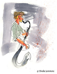 Musical interlude 2 (Tineke Lemmens) Tags: tinekelemmens music watercolors clarinet