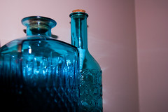 cotton candy (mirandamilne) Tags: pink blue glass vase wall