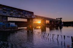 Stauwehr Dogern im Sonnenuntergang