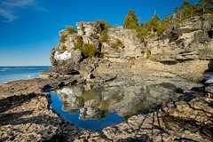 Reflections (dan sedran) Tags: blue trees sunset lake ontario ice beach nature water reflections stars spring rocks sony georgianbay north adventure clear explore melt wilderness a7 greatlake canda