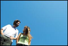 Ariel y Vani (matoges) Tags: blue sky ariel vani cielo lookatme vanina fromthebottom