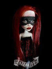 Masked Mila (saijanide) Tags: red art monster altered high doll artist dolls mask lace burgundy ooak custom burlesque repaint reroot faceup saijanide