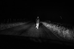For a minute there... (Julien.Rapallini) Tags: road light france girl car night french this run voiture route campagne nuit fille arrest piquets phares karmapolice