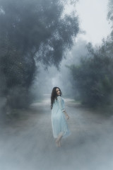 Winter dreams (Tc photography. Per) Tags: road trees winter light mist cold art girl female forest canon vintage ginger dress outdoor dream manipulation natura run fantasy concept conceptual emotive lightblue tcphotography