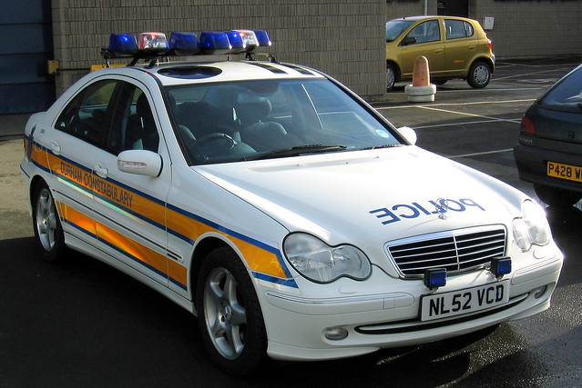 auto car mercedes benz durham traffic police vehicle roads emergency saloon unit avantgarde 999 cclass c320 rpu constabulary policing nl52vcd