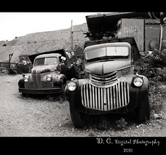 Old trucks at King  gold mine, Jerome, Arizona (divacobian) Tags: blackandwhite southwest jerome oldtruck antiquetrucks antiquecars abandonedcars abandonedtruck arizonausa oldkinggoldmine